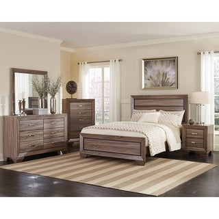 Oatfield Washed Taupe 3-piece Panel Bedroom Set with 2 Nightstands