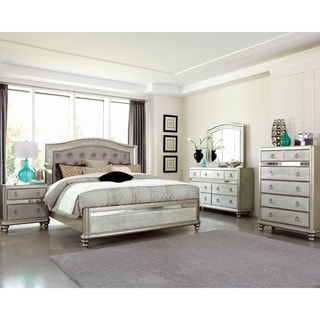 Luxe Metallic 3-piece Panel Bedroom Set with 2 Nightstands