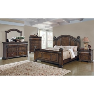 Royal Dawn Warm Bourbon 2-piece Panel Bedroom Set with Nightstand