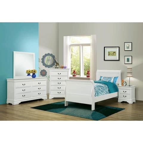 Hilltop White 2-piece Panel Bedroom Set with Nightstand