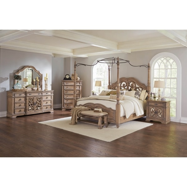 Shop Tuscany Antique Linen 2 Piece Canopy Bedroom Set With Chest