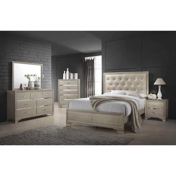 Pola Champagne and Chrome 2-piece Panel Bedroom Set with Dresser