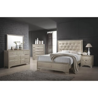Pola Champagne and Chrome 3-piece Panel Bedroom Set with 2 Nightstands