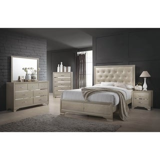 Pola Champagne and Chrome 2-piece Panel Bedroom Set with Nightstand