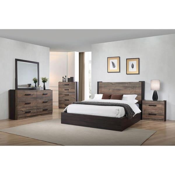 Kendra Weathered Oak 2 Piece Platform Bedroom Set With