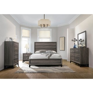 Carina Grey Oak and Black 2-piece Panel Bedroom Set with Chest