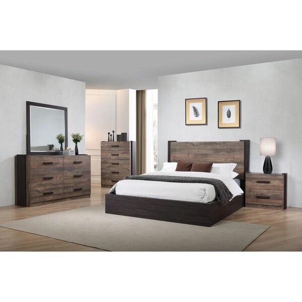 Kendra Weathered Oak 2-piece Platform Bedroom Set with Nightstand