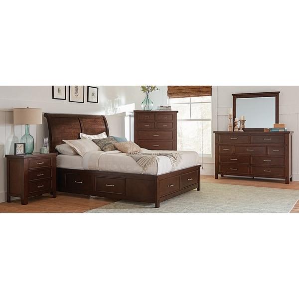 Maeve Pinot Noir 3-piece Storage Bedroom Set with 2 Nightstands