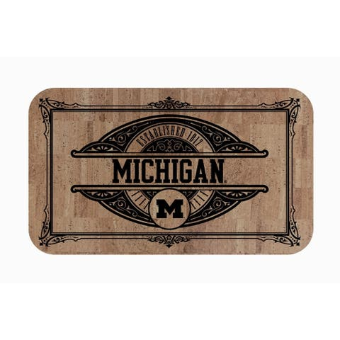 "Fanmats NCAA University of Michigan Sports Team Logo Cork Comfort Mat - 18"" x 30"""