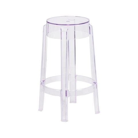 Offex 25.75'' High Contemporary Transparent Counter Height Stool [OFX-420255-FF]