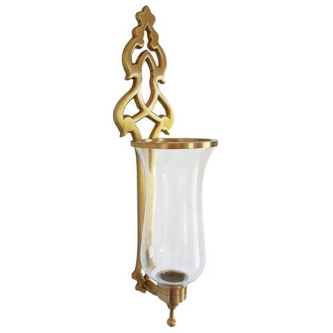 French Hurricane Sconce Aged Brass