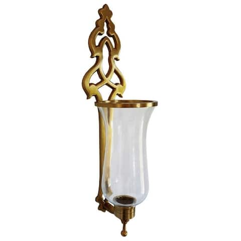 French Hurricane Sconce Brass Antique