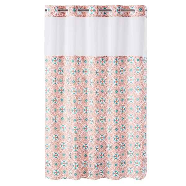 Hookless® Shower Curtain Vervain with Peva Liner - Coral