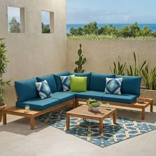 Arlington Outdoor 5 Seater Acacia Wood V-Shaped Sectional Sofa Set with Cushions by Christopher Knight Home