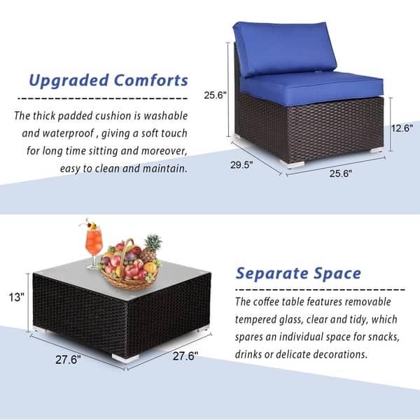 Shop Kinbor 5-Piece Outdoor Patio Furniture Set Wicker ...