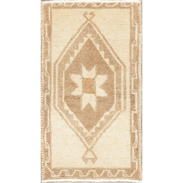 Vintage Oriental Hand Knotted Traditional Wool Rustic Turkish Area Rug - 3'2''x 1'8''