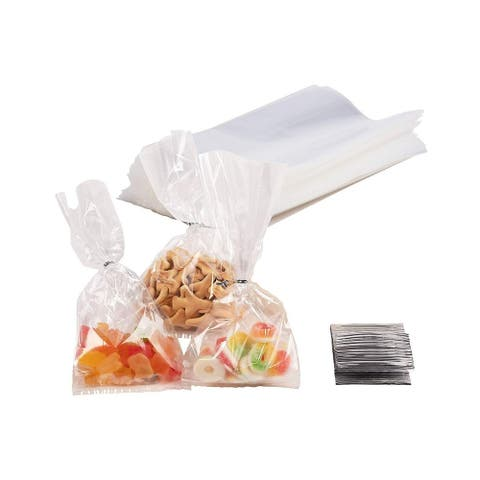 """200 Clear Gusset Cellophane Treat Bags for Food Cookies Candy Party Favor 4""""x9"""""""