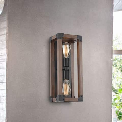 Larissa Pine Wood 2-Light Wall Sconce Antique Black Metal Finish