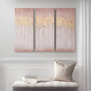 Madison Park Twilight Forest Blush Gel Coated Canvas with Gold Foil 3 Piece Set - Pink