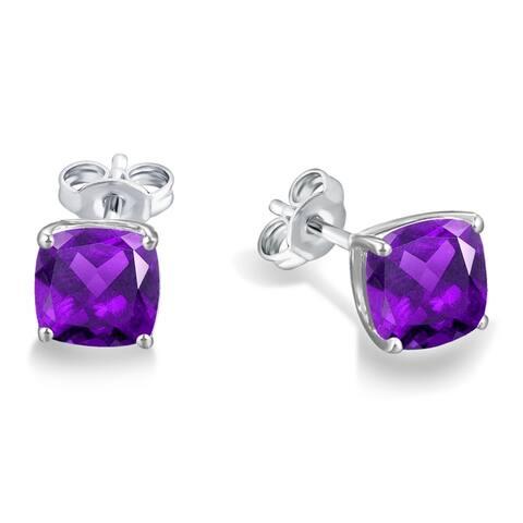 Divina Sterling Silver Cushion-cut Gemstone Stud Earrings