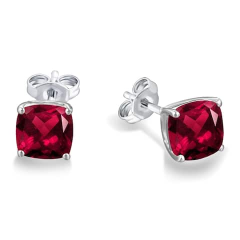 Divina Sterling Silver Cushion-cut Gemstone Stud Earrings