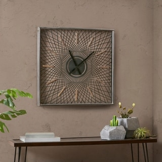 Ink and Ivy Hastings Brown Metal Wall Clock With Glass