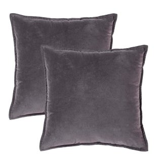 Solid Cotton Velvet Pillow-Grey,Set Of 2
