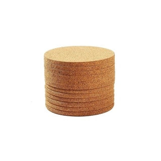 Set of 12 Round Coasters - Absorbent Cork Drink Coasters - 4in by 1/4in