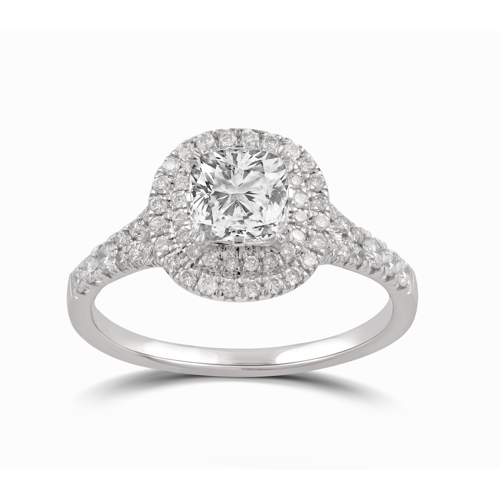 Shop Divina Sterling Silver Cushion Cut Swarovski Double Halo Engagement Ring On Sale Overstock 28753524