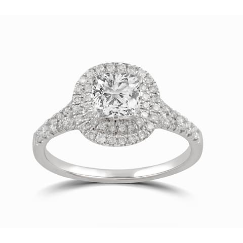 Divina Sterling Silver Cushion-cut Swarovski Double Halo Engagement Ring