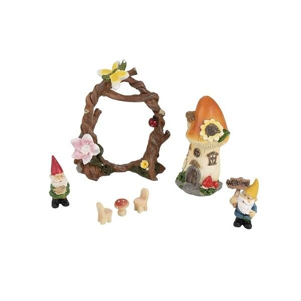 Juvale 7pcs Fairy Garden Miniature Accessories Set - Gnome & Mushroom Figurines