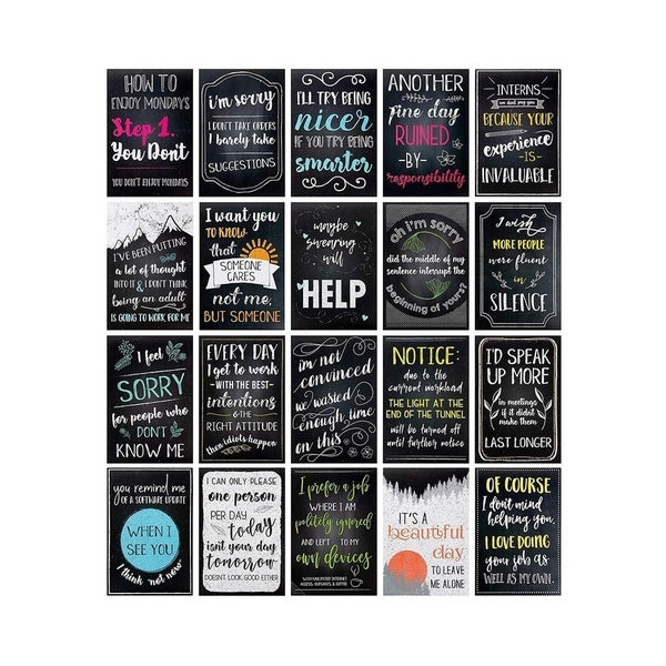 Juvale 20-Pack Funny De-Motivational Satire Quotes Posters for Wall Décor