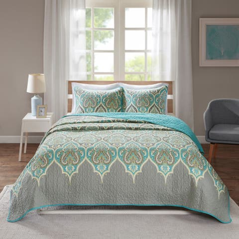 Comfort Spaces Kary Teal/Grey Reversible Cotton Printed Coverlet Set
