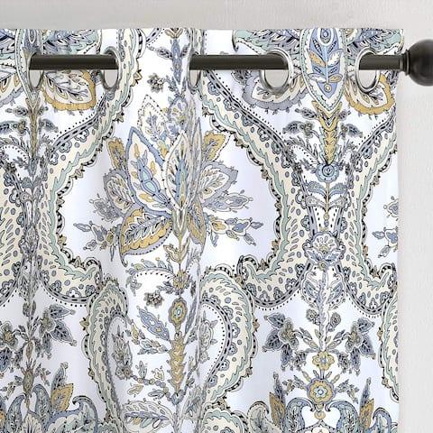 "Porch & Den Flagstone Flagston Floral Leaves Blackout Curtain Panel Pair - 52"" width x 84 "" length"