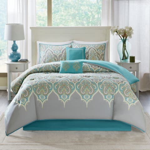 Comfort Spaces Mona Grey Cotton Printed 6 Piece Comforter Set