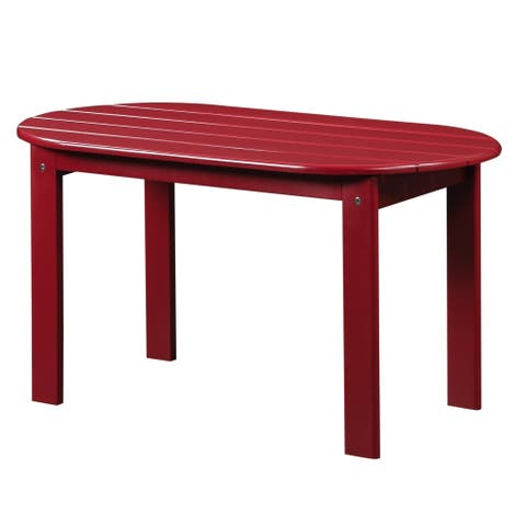 Outdoor Wooden Coffee Table with Slatted Oblong Shape Top, Red