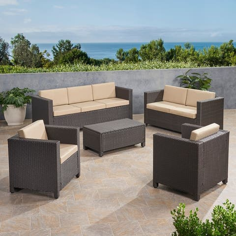 Puerta Outdoor 7 Seater Wicker Sofa Chat Set with Cushions by Christopher Knight Home
