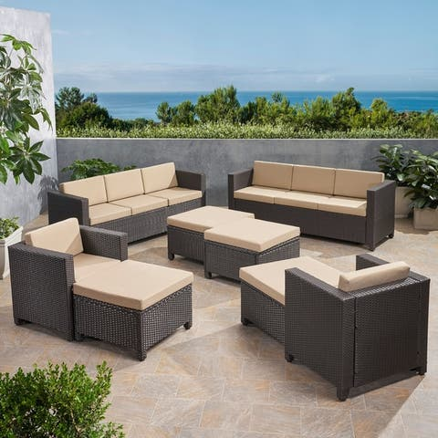 Puerta Outdoor 8 Seater Wicker Chat Set with Ottomans by Christopher Knight Home by Christopher Knight Home
