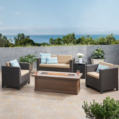 Gerhardt Outdoor 4 Seater Wicker Chat Set with Fire Pit by Christopher Knight Home