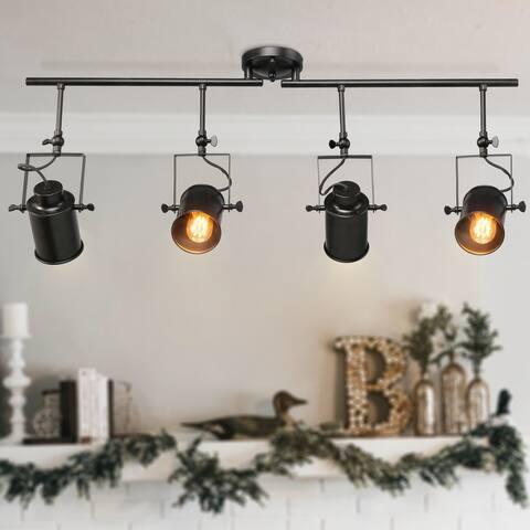Carbon Loft DeMille Black 4 Spotlight Track Lighting Semi Flush Mount Lights