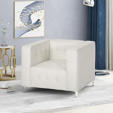Sanders Modern Glam Leather Cube Club Chair by Christopher Knight Home