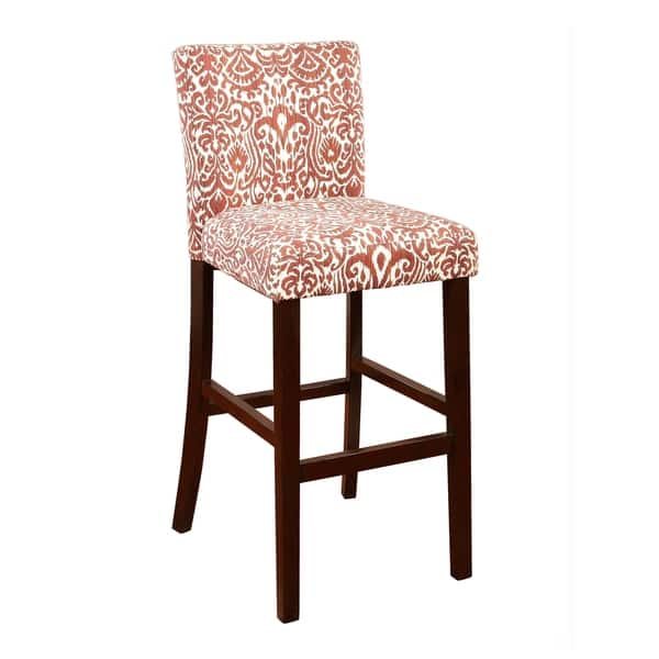 Astonishing Shop Wooden Bar Stool With Patterned Fabric Upholstery Red Evergreenethics Interior Chair Design Evergreenethicsorg
