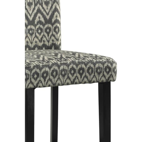 Wooden Bar Stool With Ikat Design Fabric Upholstery Black And White On Sale Overstock 28753744