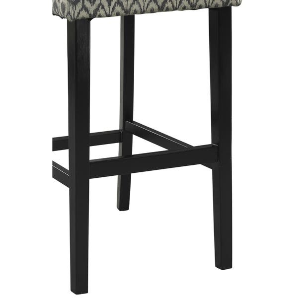 Wooden Counter Stool With Ikat Design Fabric Upholstery Black And White On Sale Overstock 28753746
