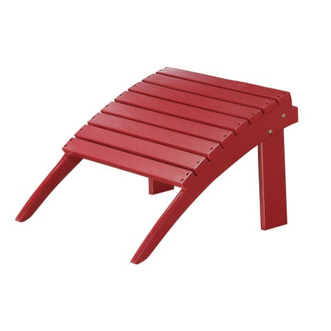 Arched Wooden Ottoman with Slatted Design and straight Legs, Red