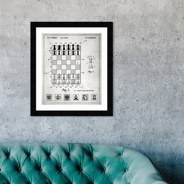Oliver Gal 'Chess game and method 2000' Entertainment and Hobbies Framed Blueprint Wall Art - Black, White. Opens flyout.
