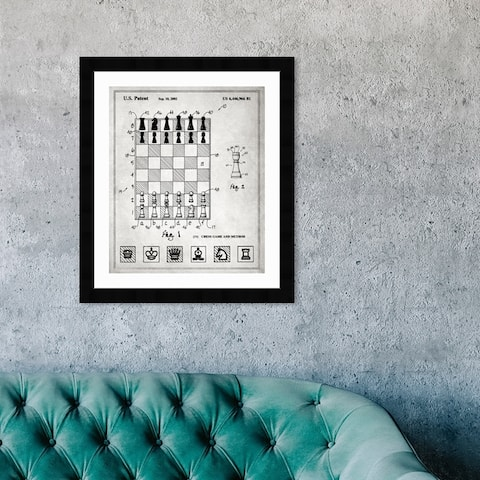 Oliver Gal 'Chess game and method 2000' Entertainment and Hobbies Framed Blueprint Wall Art - Black, White
