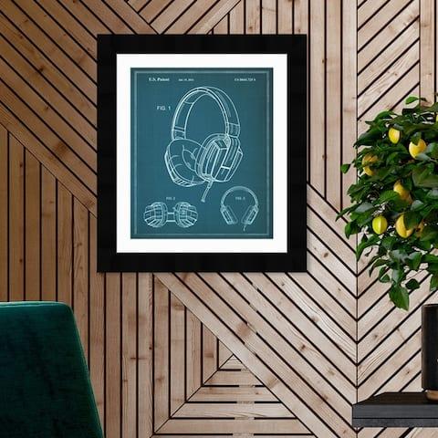 Oliver Gal 'Headphones 2010' Music and Dance Framed Blueprint Wall Art - Blue, White