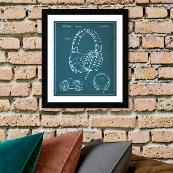 Oliver Gal 'Headphones 2010' Music and Dance Framed Blueprint Wall Art - Blue, White