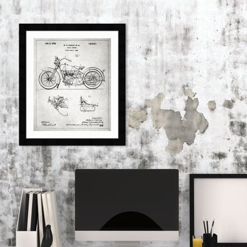 Oliver Gal 'Harley, 1928 - Gray' Transportation Framed Blueprint Wall Art - Black, Gray